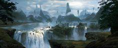 Waterfall , Gia Nguyen on ArtStation at https://www.artstation.com/artwork/XEbRY