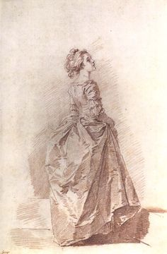 Drawing of a Young Woman, by Fragonard, c 1770s-80s. Love how Fragonard captures the crisp folds and shimmer of the silk gown.