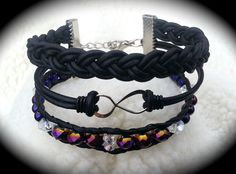 Infinity leather bracelet made by Dizzy Bees, search Dizzy Bees on Facebook.