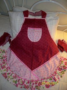 Really Pink Ribbon Apron by whimseycottage on Etsy, $25.00