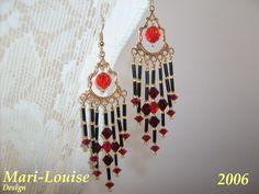 Swarovski earrings with buglebeads
