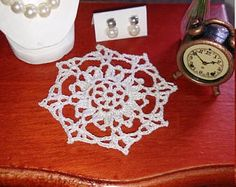 Items similar to Miniature crochet round doily 6.5 cm - 1:12 dollhouse miniature - Miniature doilies - Dollhouse tablecloth on Etsy