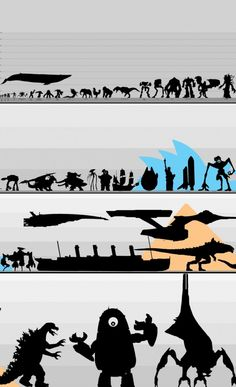 Size Comparison of EVERYTHING by *Lexinator117  (1. Woman/Man 2. Krogan 3. Zealot (Starcraft) 4. Elite (Halo) 5. Starship Troopers Warrior Bug 6. Brute 7. Berserker (Gears of War) 8. Handyman 9. Hunter (Halo) 10. Hydralisk 11. Elephant, etc.) click for full list - created via http://pinthemall.net