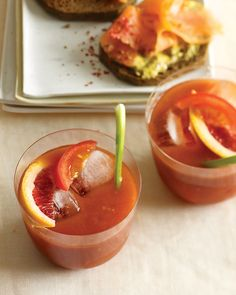 Bloody (Orange) Marys - Martha Stewart Recipes - Local Radio host made these this morning and LOVED them.