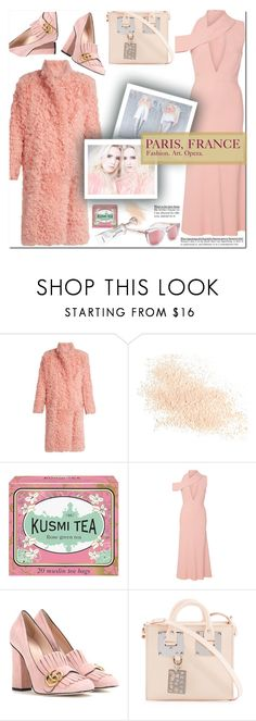 """How to Style an All Pink Monochromatic Look for Travel to Paris Fashion Week in France"" by outfitsfortravel ❤ liked on Polyvore featuring Preen, Eve Lom, Kusmi Tea, Cushnie Et Ochs, Gucci, Sophie Hulme and RetroSuperFuture"