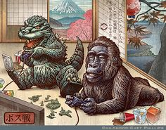 """""""Boss Battle"""" (variant) is a signed print from an illustration by Chet Phillips depicting Godzilla and King Kong playing a video game in a Japanese styled print. From the collection """"Childhood,"""" a hand bound book of pop culture character parodies. King Kong, Troll, Strange Beasts, Fanart, Japanese Characters, Ouvrages D'art, Classic Monsters, Geek Art, Cultura Pop"""