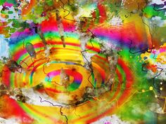 Exploding Rainbow 2 - Contemporary Abstract Digital Watercolor