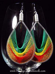 Handmade Thread Earrings String Art Rasta by RubysHandiwork, $25.00