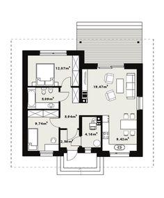 DOM.PL™ - Projekt domu TP GAJA CE - DOM TP1-33 - gotowy koszt budowy Floor Plans, Bungalows, Houses, Facades, Bungalow