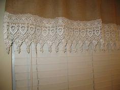 """Vintage Stylish Top Rod Curtain Valance Natural Burlap 22""""X 59""""  Embroidered 9"""" Venice Lace Decorated"""