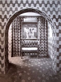 Corridor Monkton House. Delvaux painting on the wall