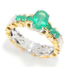 157-784 - Gems en Vogue 7 x 5mm Zambian Emerald Seven-Stone Ring