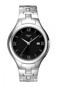 Tissot T12 Lady Quartz Black Dial Watch with Stainless Steel Bracelet