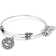 Mom and Baby's Footprints Charm Bangle Silver Plated - Charm Bangles From $9.99