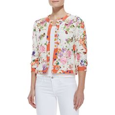 Michael Simon Floral-Print Lace Cardigan (€110) ❤ liked on Polyvore featuring plus size fashion, plus size clothing, plus size tops, plus size cardigans, orange multi, floral print cardigan, floral cardigan, 3/4 sleeve crop top, cropped cardigan and lace crop top