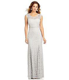 Sequin Hearts BeadShoulder FoilLace Gown #Dillards