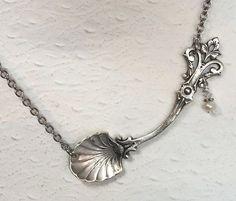 Sterling Silver Spoon Necklace Sterling Salt by SpoonfestJewelry