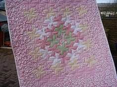 Rhianon's twister quilt - love the watercolory effect and the quilting she chose for it.