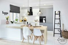 Hygge wnętrze - PLN Design - Expolore the best and the special ideas about Modern kitchen design Kitchen Room Design, Luxury Kitchen Design, Living Room Kitchen, Kitchen Layout, Home Decor Kitchen, Interior Design Kitchen, Home Kitchens, Modern Interior, Dining Room