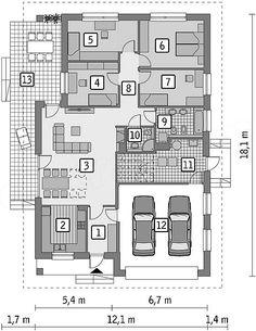 Rzut parteru projektu Murator M196 Twoja droga Family House Plans, Dream House Plans, Planer, Floor Plans, How To Plan, Architecture, Modern, Home Plans, Floor Layout