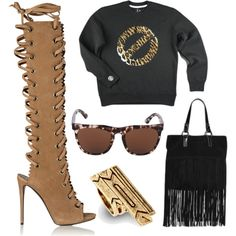 A fashion look from February 2015 featuring boho boots, stackers jewellery and suede fringe handbags. Browse and shop related looks. Fringe Handbags, Boho Boots, My Boyfriend, Giuseppe Zanotti, Fashion Looks, Wine, Polyvore, Leather, House