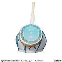 Aqua Ombre Zebra Print Baby Shower Cake Pops