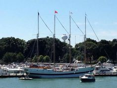 "Tall Ship ""Windy"" docked at Put-in-Bay (South Bass Island). It will be available for day sails August 30-September 1, 2013."