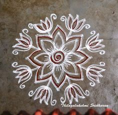 Rangoli and Art Works: FREEHAND KOLAM Indian Rangoli Designs, Rangoli Designs Latest, Colorful Rangoli Designs, Rangoli Designs Images, Beautiful Rangoli Designs, Lotus Rangoli, Kolam Rangoli, Flower Rangoli, Simple Rangoli