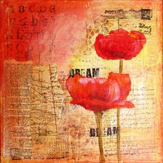Dream II  a mixed media collage on 8 x '8 canvas. by Kitty69, $30.00