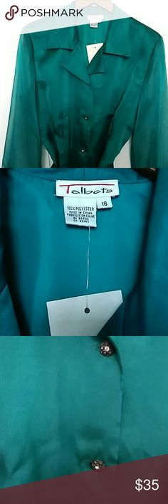 Women's  Blouse Teal Blouse with  Sash Rhinestone Buttons Talbot's Tops Blouses