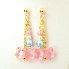 Sweet Lolita Ball Post Earrings Gold Chain Pastel Blue Pink Pearls Pink Bow. $12.00, via Etsy.