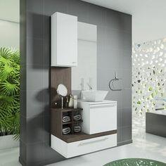 Gabinete para Banheiro com Espelheira Ravenna Celta Móveis (Não acompanha cuba e torneira) Ravena/Dacota Branco