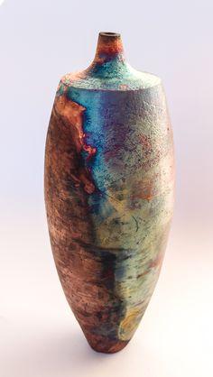 handbuilt copper mat raku by Tim Betts