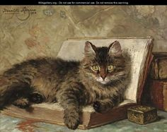 Henriette Ronner-Knip (Dutch, The wise cat signed and dated 'Henriette (upper left) oil on panel 11 x in.) Painted in private collection I Love Cats, Crazy Cats, Cute Cats, Cat Signs, Gatos Cats, Here Kitty Kitty, Cat Drawing, Beautiful Cats, Dog Cat