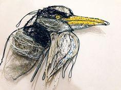 Heron made of wire and telephone wire by Amanda bradbury Wildlife Paintings, Heron, Telephone, Amanda, Wire, Fine Art, Landscape, Illustration, Inspiration