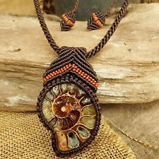Macrame Necklace Pendant Ammonite Fossil Stone Waxed Cord Handmade Handcrafted