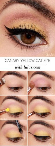 Yellow Eyeshadow - Cheerful Yellow Eyeshadow Tutorial for Beginners... super cute!!