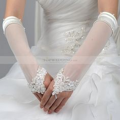Fingerless Ivory Elbow Length Voile Wedding Gloves with Applique ...
