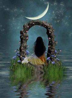 """Each night the moon kisses secretly the lover who counts the stars."" Rumi ""Todas as noites, a lua beija secretamente o amante que conta as estrelas. Moon Moon, Sun Moon Stars, Moon Art, Full Moon, Fantasy World, Fantasy Art, Moon Magic, Illustration, Beautiful Moon"
