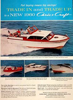 "1960 Chris Craft boat ad  Our 32' Christ Craft Constellation  ""Risky Business""  WR 5866 AI"