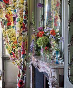 Designers Guild vases with Orangerie fabric