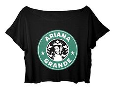 Women's Crop Top Ariana Grande T-Shirt Mermaid Princess Ariana Grande Tee Shirt (Black)