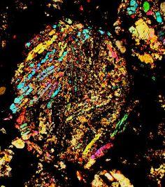 NWA 328 meteorite thin section viewed through a polarizing microscope