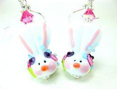 Easter Bunny Earrings Easter Bunny Lampwork by GlassRiverJewelry, $42.00