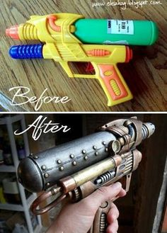 The amazing transformation of an ordinary water gun into a steampunk water gun. Looks just like some dark silver, gold and copper paint....maybe a little gloss? WIN. by Pheeb'S
