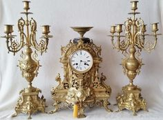Rare Antique French Pierced Brass 19th Japy Freres Mantel Clock & Candelabras