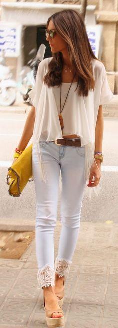 Fashion Land Blue Women's Denim White Lace Ankle Trim Skinnies