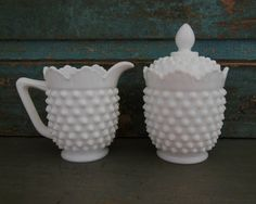Fenton Milk Glass Hobnail Creamer and Sugar by turquoiserollerset, $19.00