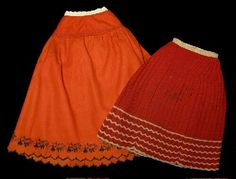 Red Wool Crocheted Petticoat C. 1855-65 and embroidered wool petticoat c. 1889-1899.   | collections.mohistory.org
