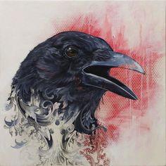 17 Ideas For Black Bird Drawing Crows Ravens Mixed Media Crow Art, Raven Art, Bird Art, Raven And Wolf, Quoth The Raven, Love Birds, Beautiful Birds, Rabe Tattoo, Zealand Tattoo
